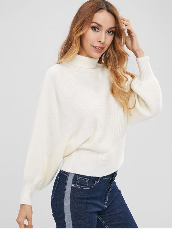 shops ZAFUL Dolman Sleeve Turtleneck Sweater - WHITE M