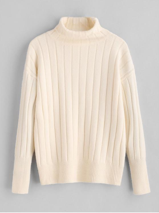 chic Ribbed Turtleneck Sweater - WHITE ONE SIZE