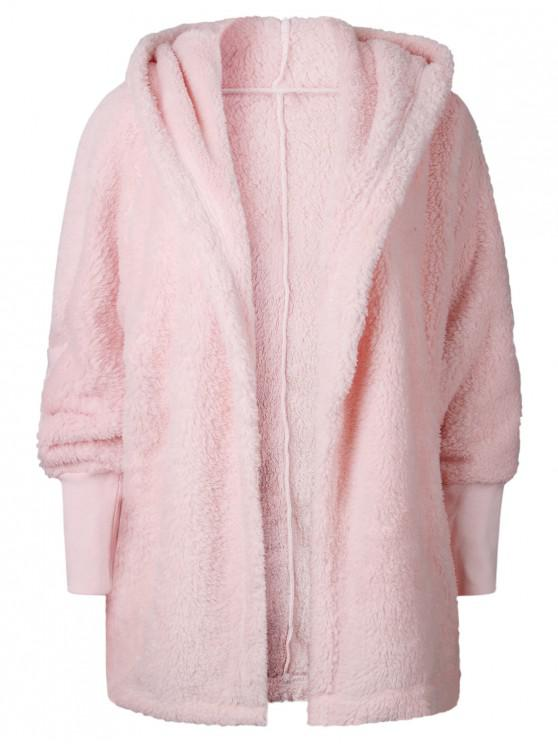 affordable Oversize Open Front Furry Coat - PINK M