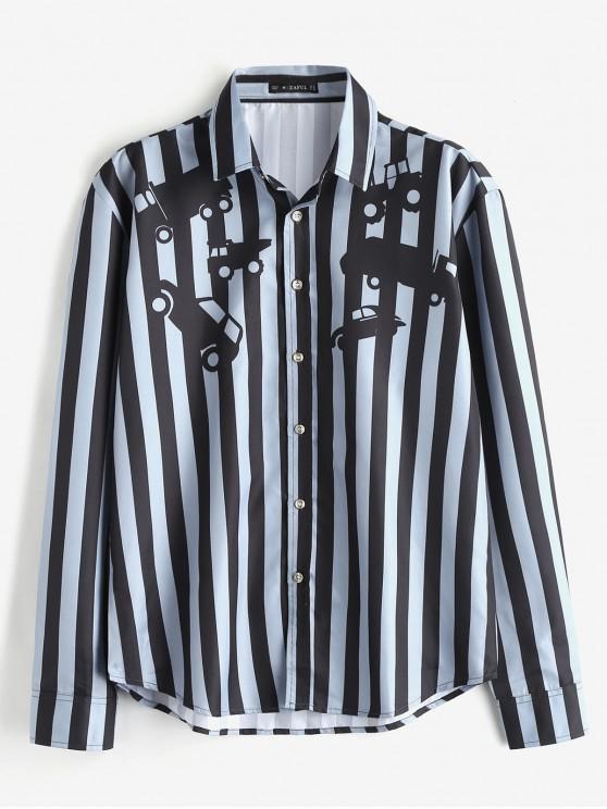 trendy ZAFUL Car Stripes Print Casual Shirt - BLUE GRAY L