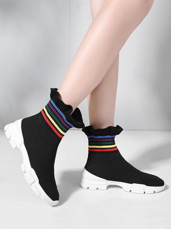 chic Multi-color Striped Ruffled Hem Casual Sock Boots - BLACK EU 37