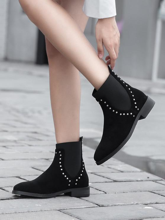 ladies Stud Trim Round Toe Chelsea Ankle Boots - BLACK EU 38
