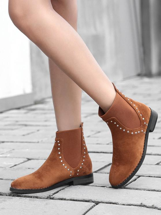 hot Stud Trim Round Toe Chelsea Ankle Boots - BROWN EU 37