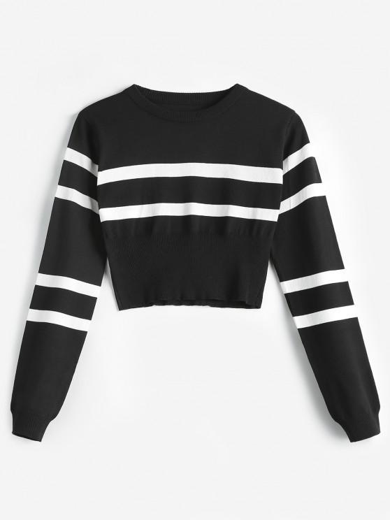 lady Striped Round Neck Short Sweater - BLACK ONE SIZE