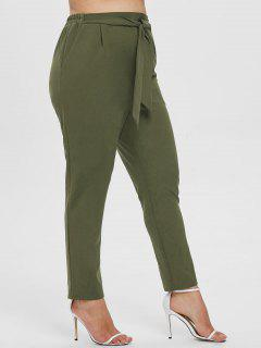 ZAFUL Plus Size Tied Pencil Pants - Army Green L