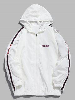 Side Striped Letter Hooded Jacket - White 2xl