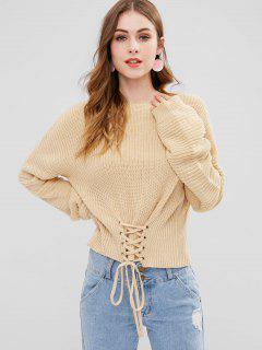 ZAFUL Lace-up Drop Shoulder Sweater - Apricot