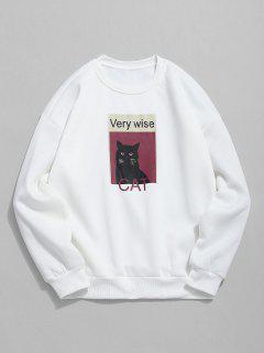 Cat Graphic Fleece Sweatshirt - White L