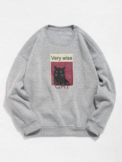 Cat Graphic Fleece Sweatshirt - Gray 2xl