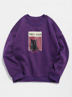 Cat Graphic Fleece Sweatshirt - Purple 2xl