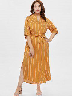 Plus Size Slit Striped Belt Dress - Orange Gold 2x