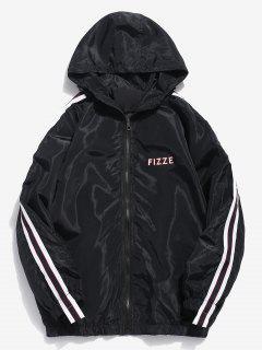 Side Striped Letter Hooded Jacket - Black L