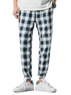 Drawstring Check Print Straight Leg Pants - Blue Ivy M