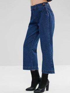 Side Zipped Plain Wide Leg Jeans - Denim Dark Blue L