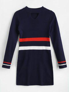 Striped Keyhole Mini Jumper Dress - Midnight Blue