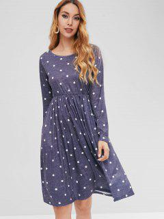 Polka Dot Elastic Waist Dress - Midnight Blue L