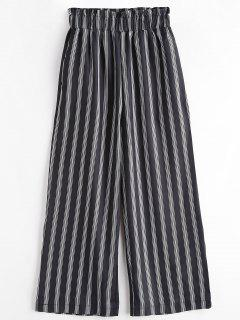 Seam Pockets Stripes Wide Leg Pants - Black L