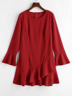 Flare Sleeve Ruffles Mini Dress - Lava Red M