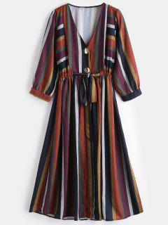 Vestido A Media Pierna De Rayas De Botón - Multicolor M