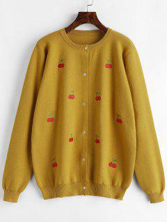 Plus Size Cherry Embroidery Button Front Cardigan - Mustard 3x