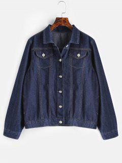 Veste Avec Poches De Grande Taille En Denim - Bleu Foncé Toile De Jean 4x