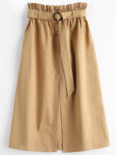 Half Buttoned Slit A Line Skirt - Camel Brown S
