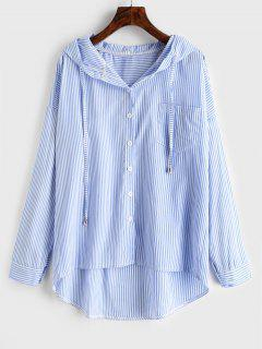 Plus Size High Low Stripe Hooded Shirt - Day Sky Blue 3x