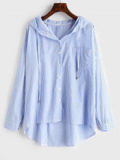 Chemise à Capuche Rayée Coupe Haute De Grande Taille - Bleu De Ciel  3x