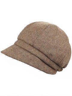 Elegant Herringbone Pattern Newsboy Cap - Camel Brown