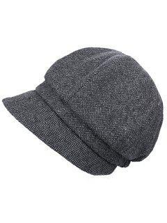 Elegant Herringbone Pattern Newsboy Cap - Gray