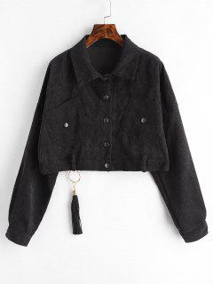Cropped Snap Button Corduroy Jacket - Black