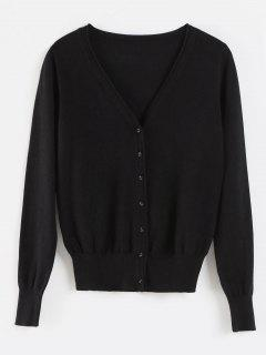 Buttons V Neck Cardigan - Black L