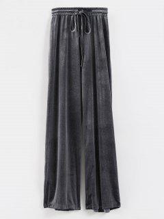 High Waist Velvet Wide Leg Pants - Slate Gray L