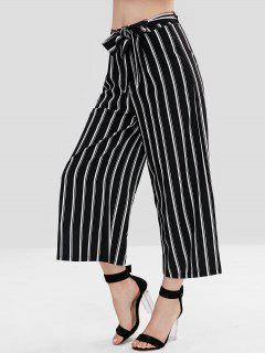 Striped Wide Leg Belted Pants - Black L