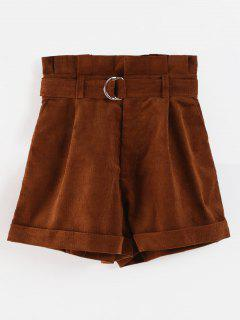 Belted High Waisted Paperbag Shorts - Coffee L