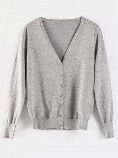 V Neck Buttons Cardigan - Light Gray M