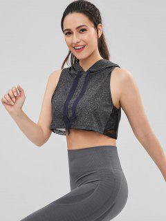 Heather Mesh Insert Crop Hoodie - Jet Gray L