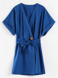 Belted Batwing Sleeve Wrap Dress - Cobalt Blue S