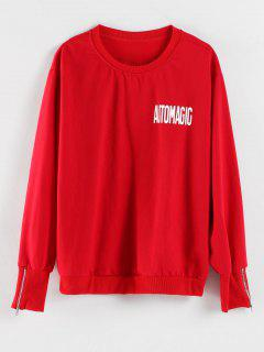 Crew Neck Letter Print Graphic Sweatshirt - Red M