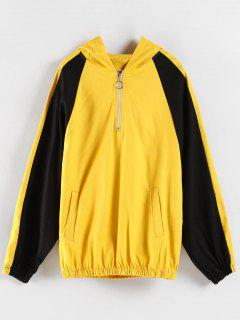 Color Block Graphic Boyfriend Hoodie - Yellow Xl