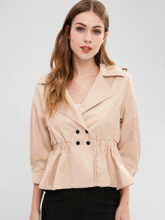 Snap-button Trench Coat - Light Khaki L