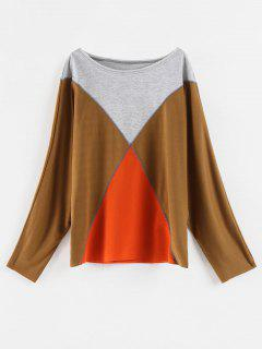 Color Block Oversized Tee - Moccasin Xl