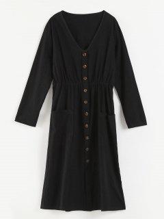 V Neck Buttons Embellished Dress - Black Xl