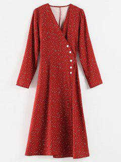 Polka Dot Slit Wrap Dress - Red Wine M