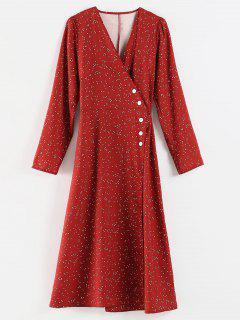 Polka Dot Slit Wrap Dress - Red Wine L