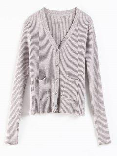 Pockets Ribbed Buttons Cardigan - Light Gray