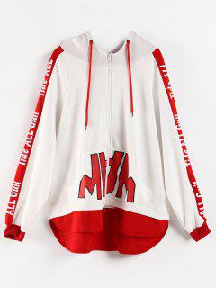 High Low Graphic Zip Up Hoodie - White M