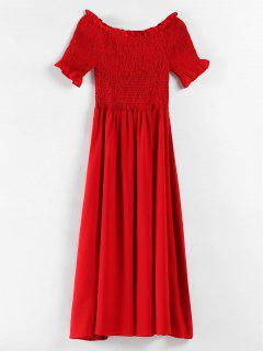 Plus Size Ruffles Smocked Dress - Red 4x
