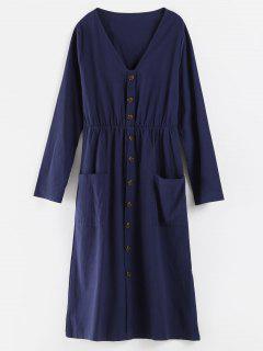 Robe Ornée De Boutons à Col En V - Cadetblue L