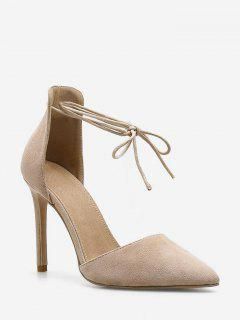 Pointed Toe Ankle Wrap Pumps - Apricot Eu 36